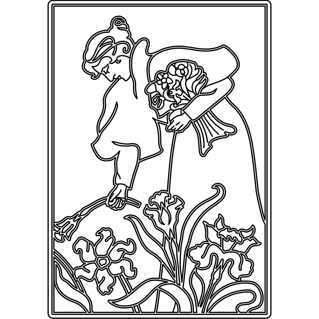 花を摘むひと:黒線バージョン