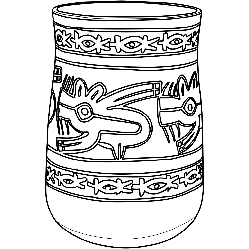 ナスカ文化の土器:黒線バージョン