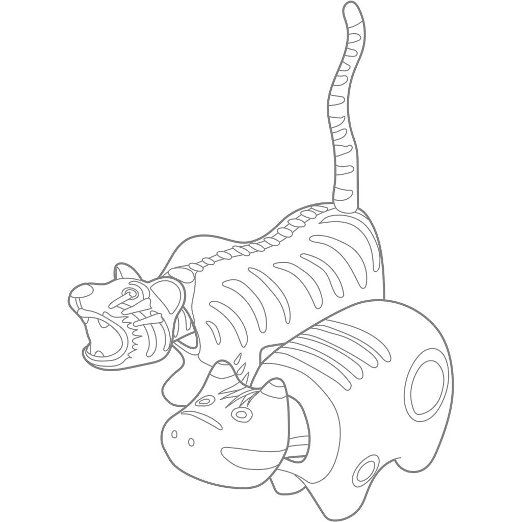 赤べこ・張子の虎:グレー線バージョン