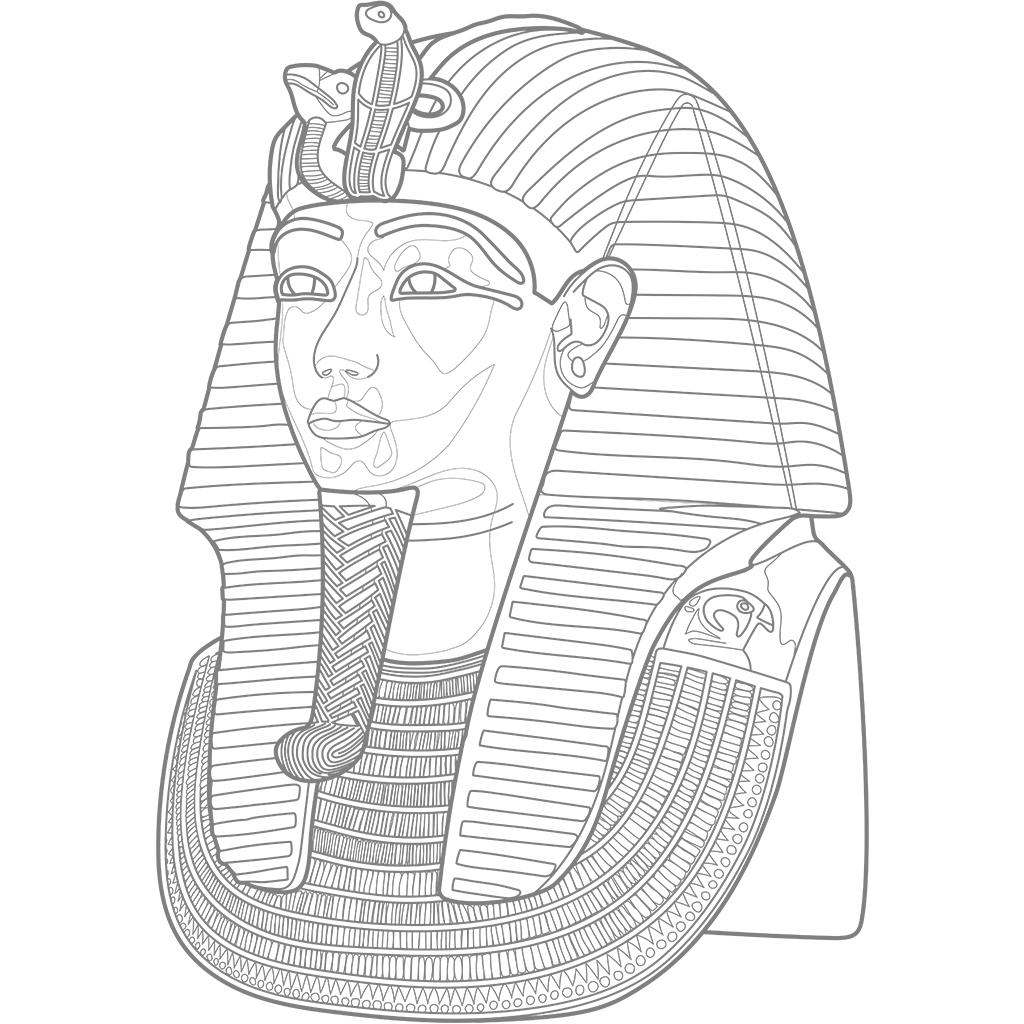 ツタンカーメンのマスク:グレー線バージョン