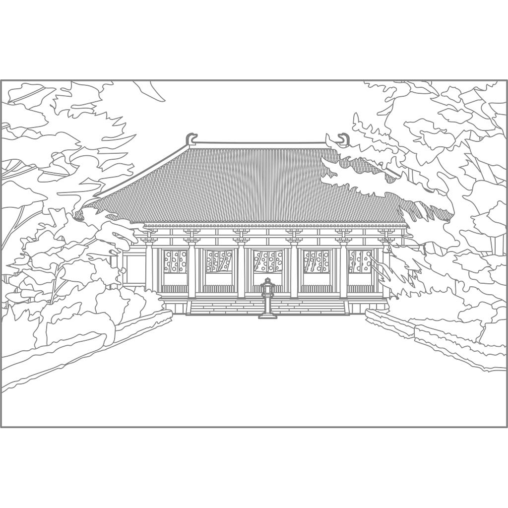 唐招提寺金堂:グレー線バージョン