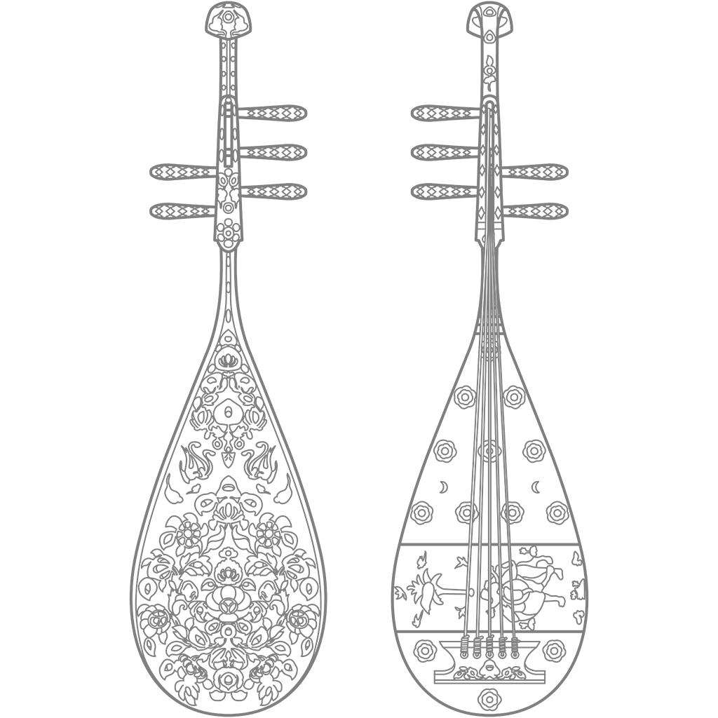 螺鈿紫檀五絃琵琶:グレー線バージョン