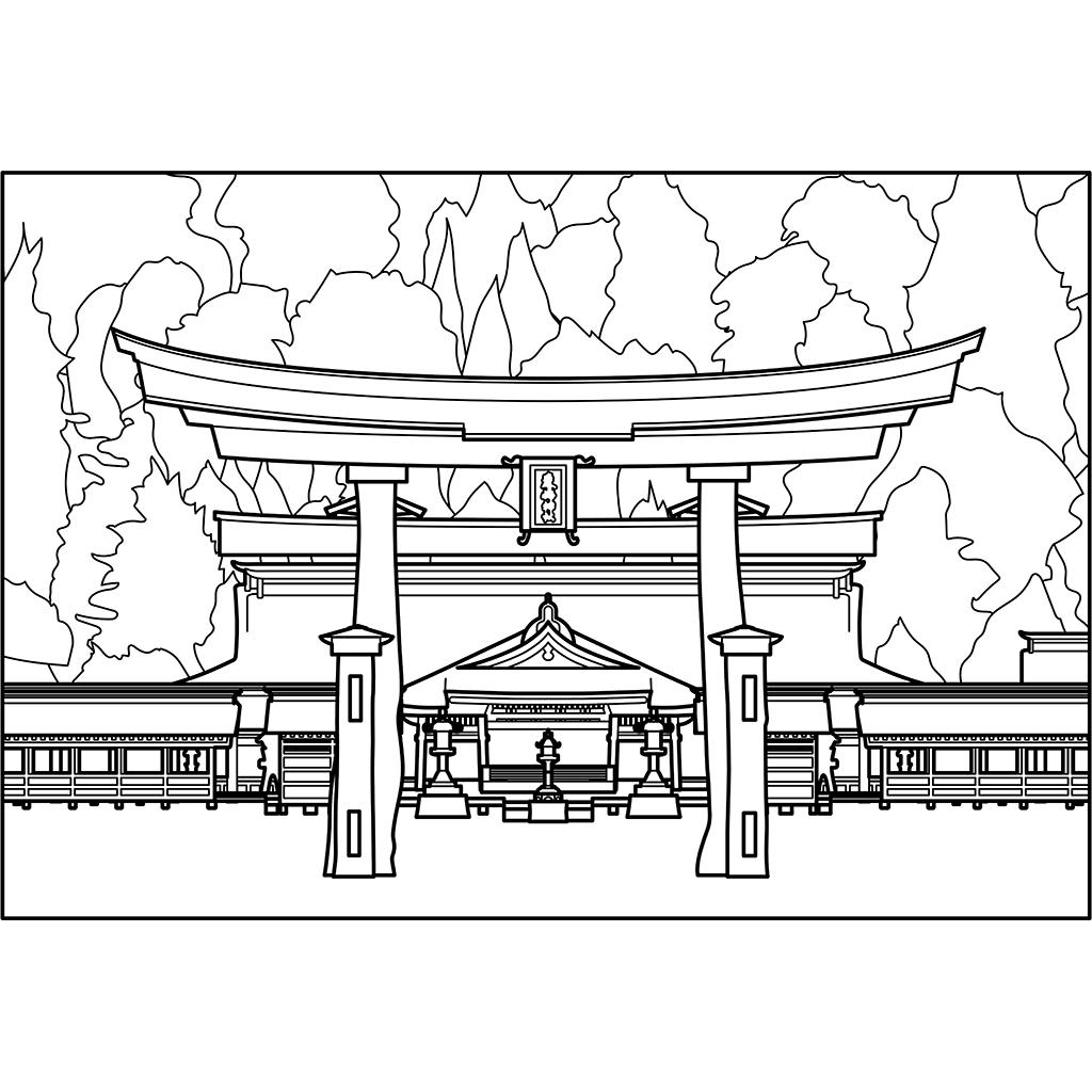厳島神社:黒線バージョン