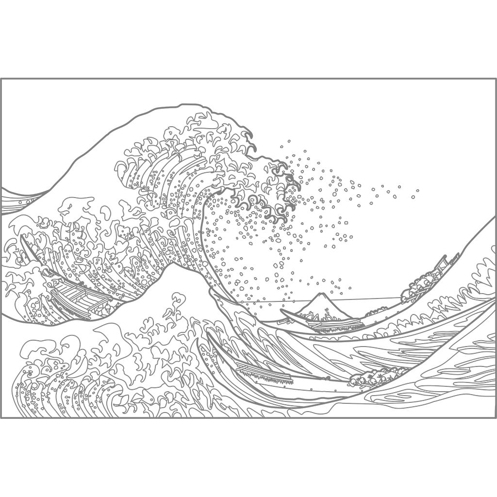 神奈川沖浪裏:グレー線バージョン