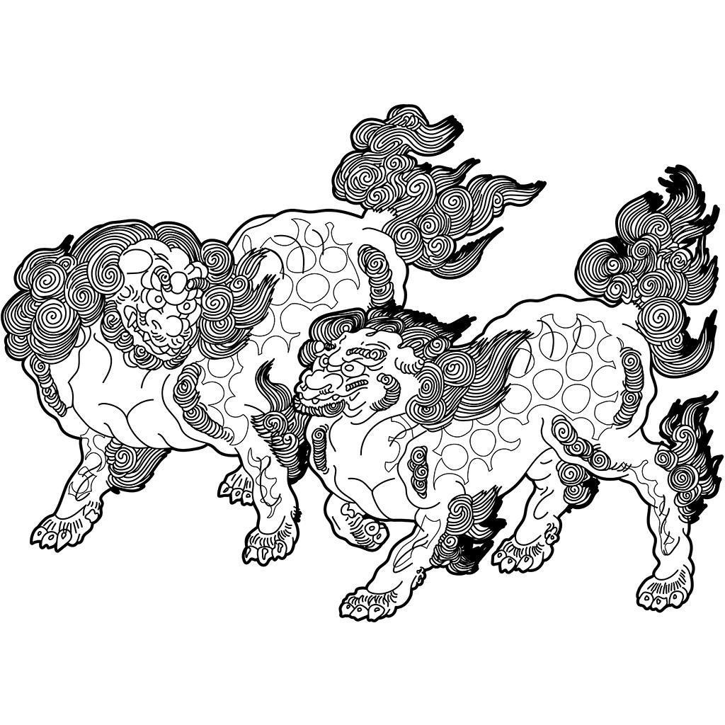 唐獅子図:黒線バージョン