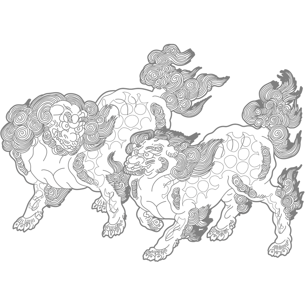 唐獅子図:グレー線バージョン