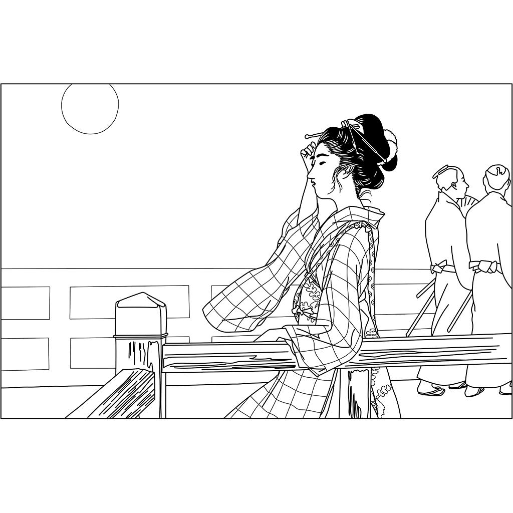 橋上の婦人:黒線バージョン
