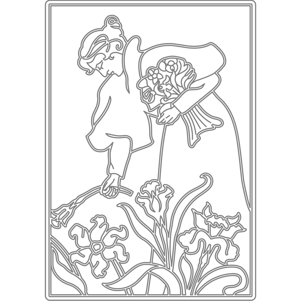 花を摘むひと:グレー線バージョン