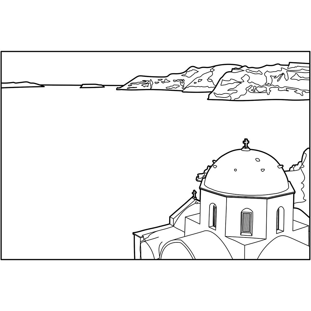 サントリーニ島:黒線バージョン
