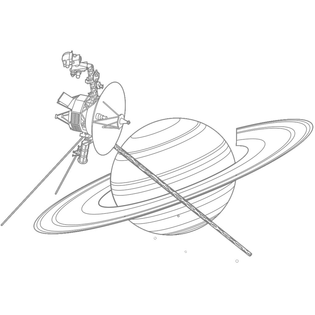 ボイジャー2号と土星:グレー線バージョン