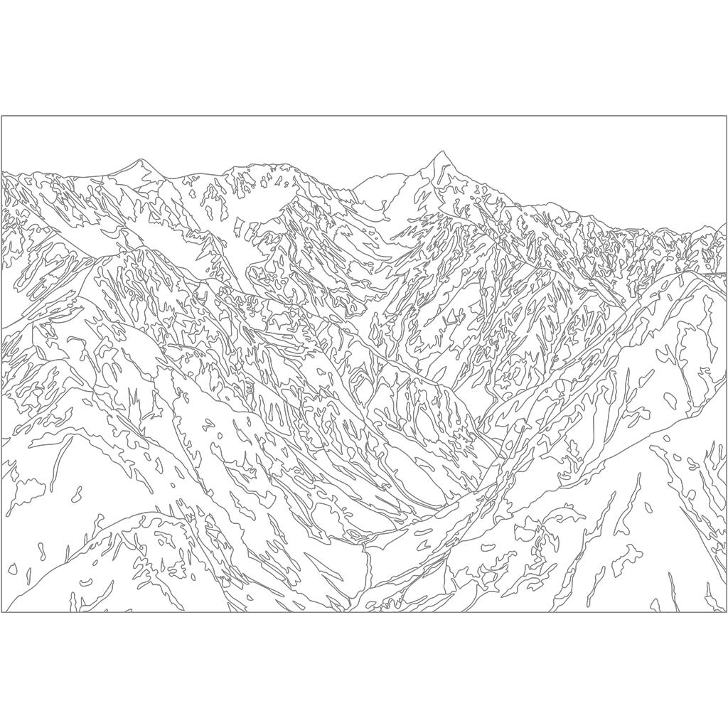 槍ヶ岳:グレー線バージョン