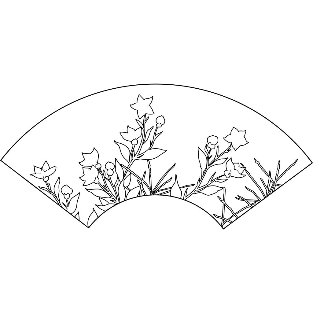 桔梗図扇面:黒線バージョン